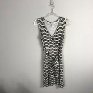 Loft Chevron Stripe Sleeveless Wrap Dress